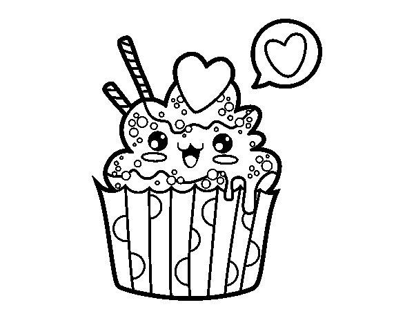 Coloriage De Cupcake Kawaii Pour Colorier - Coloritou encequiconcerne Coloriage De Cupcake