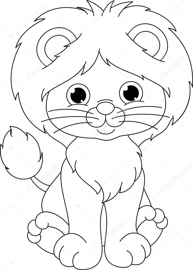 Coloriage De Lion — Image Vectorielle Malyaka © #50058025 encequiconcerne Lionceau Dessin