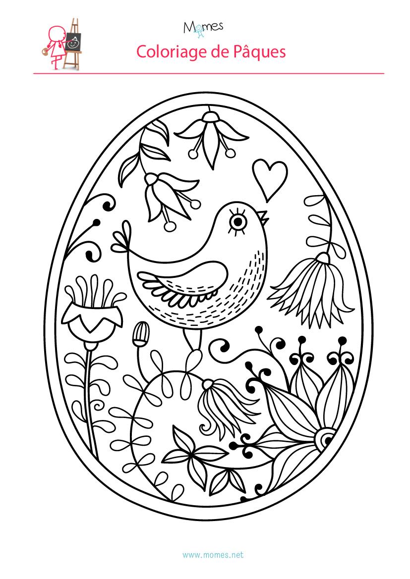 Coloriage De L'Oeuf De Pâques À L'Oiseau - Momes avec Oeufs De Paques Coloriage A Imprimer
