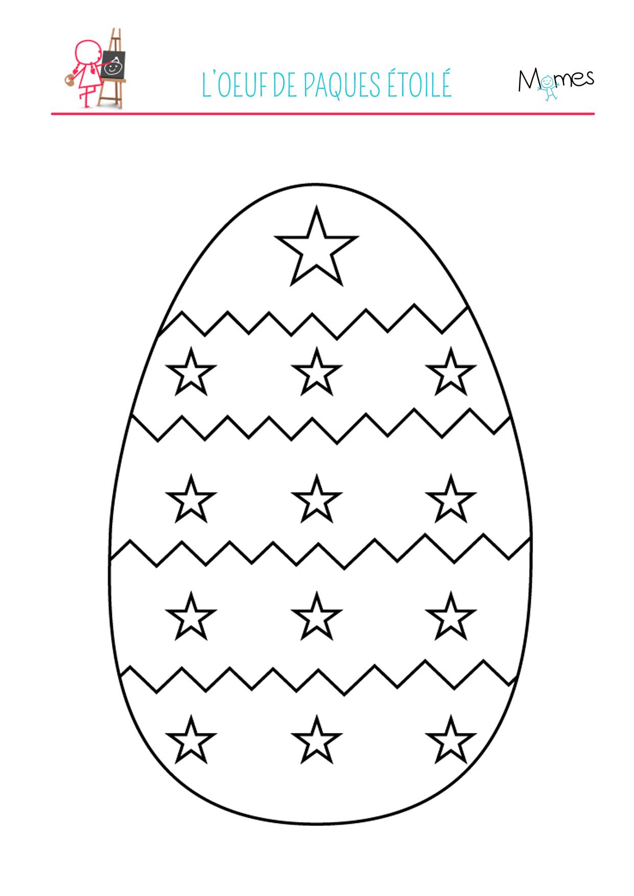 Coloriage De L'Œuf De Pâques Étoilé - Momes destiné Dessin Oeuf De Paques
