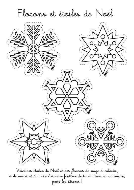 Coloriage De Noël : Flocons Et Étoiles De Noël | Coloriage concernant Flocon À Colorier