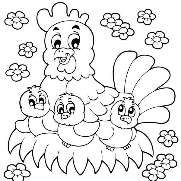 Coloriage De Pâques : La Poule Et Ses Adorables Poussins intérieur Poussin En Dessin