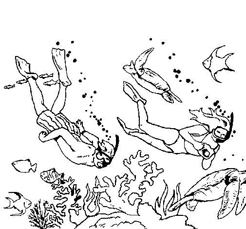Coloriage De Plongeurs Sous-Marins Pour Colorier à Dessin De Plongeur