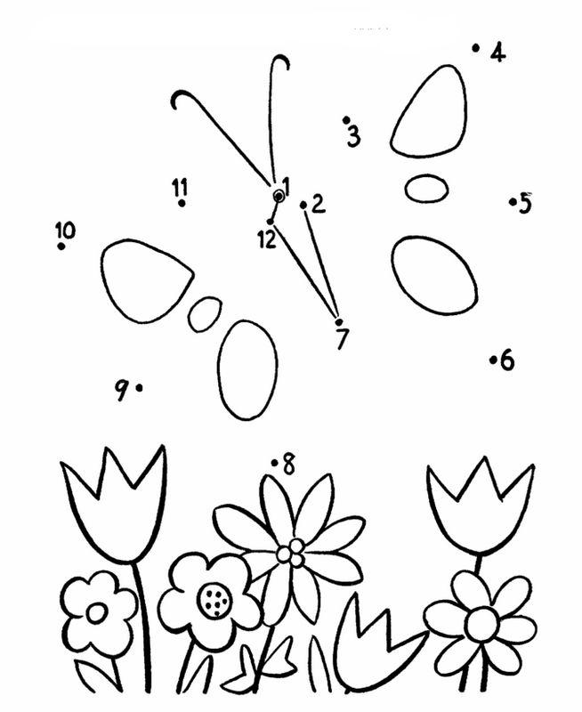 Coloriage De Points À Relier, Dessin Papillon Et Fleurs avec Papillon Alphabet Point ? Relier Coloring