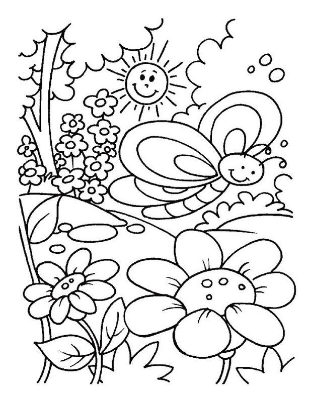 Coloriage De Printemps, Dessin Paysage De Printemps Pour serapportantà Coloriage Happy Color