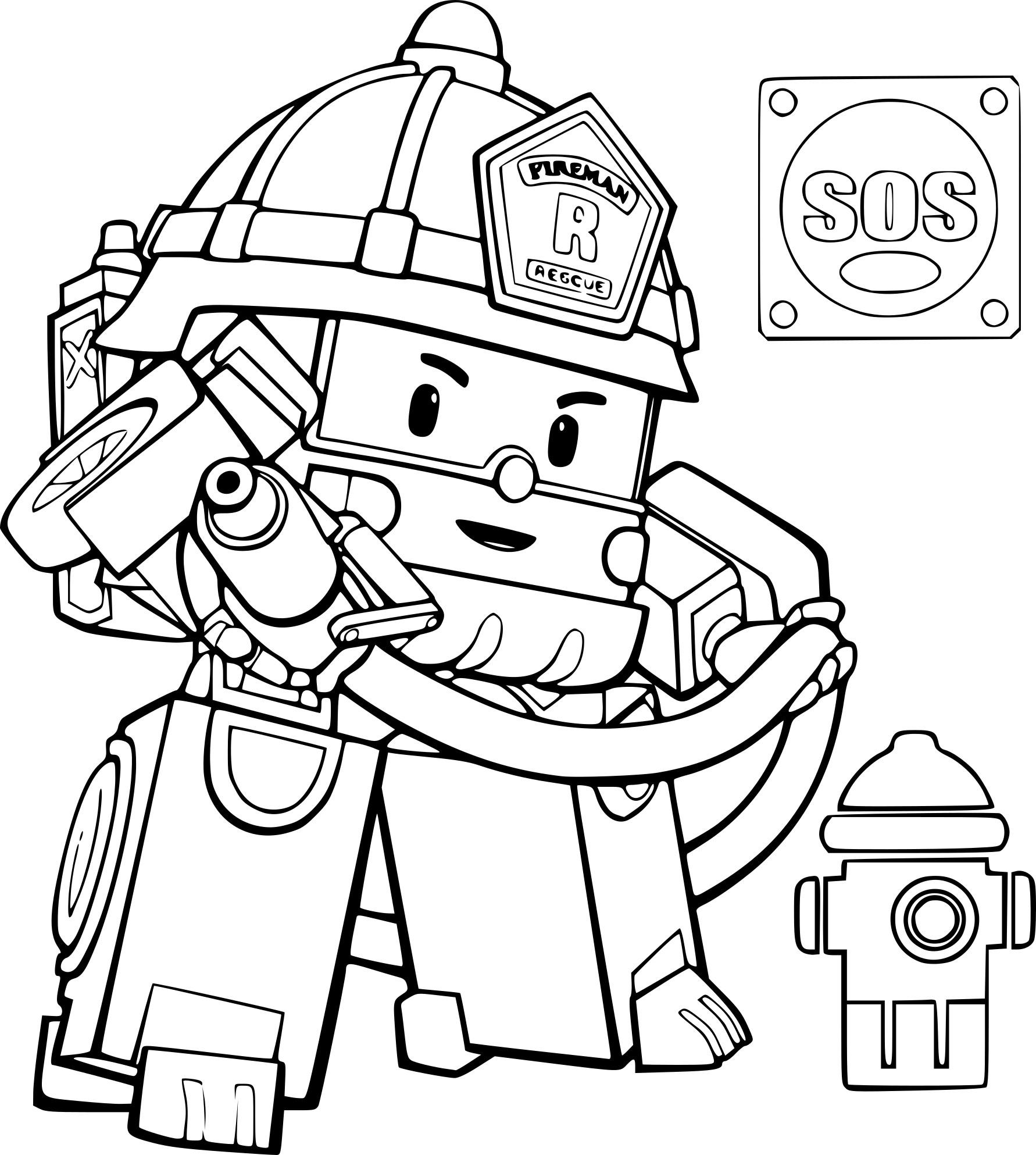 Coloriage De Robocar Poli Camion De Pompier À Imprimer Sur tout Dessin Pompier A Imprimer