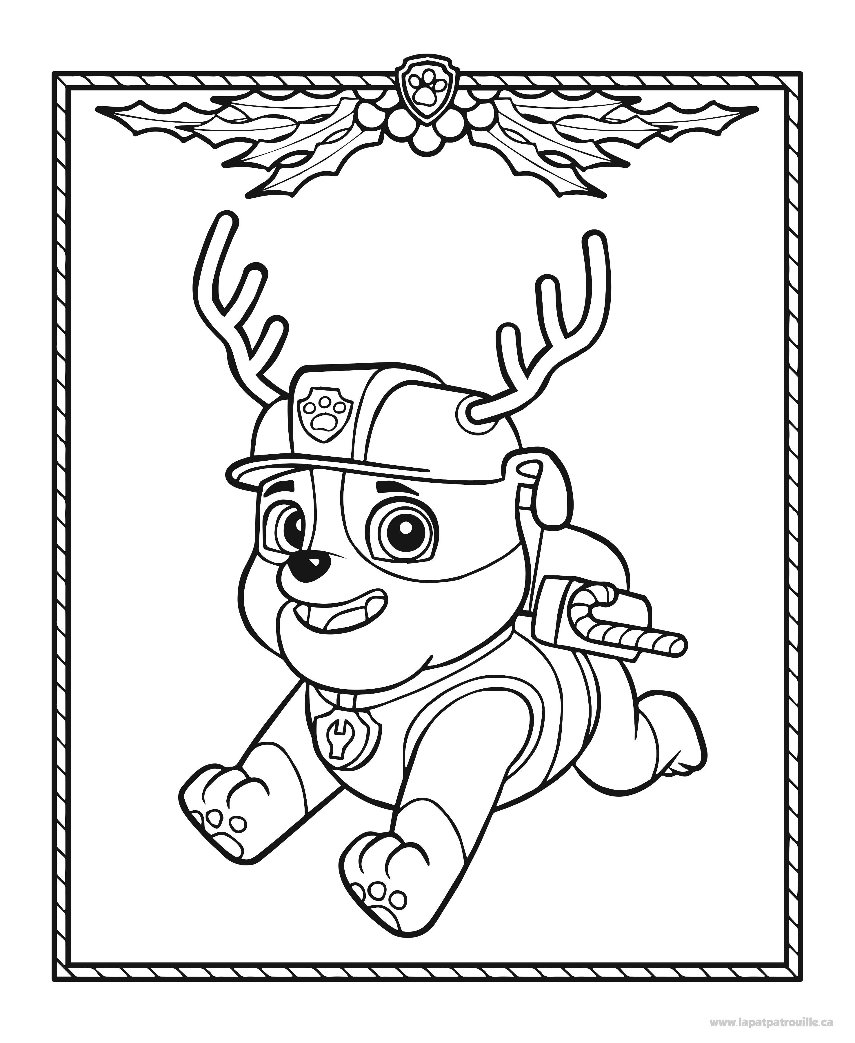 Coloriage De Ruben Qui Se Transforme En Renne Du Père Noël intérieur Coloriage Pat Patrouille A Imprimer