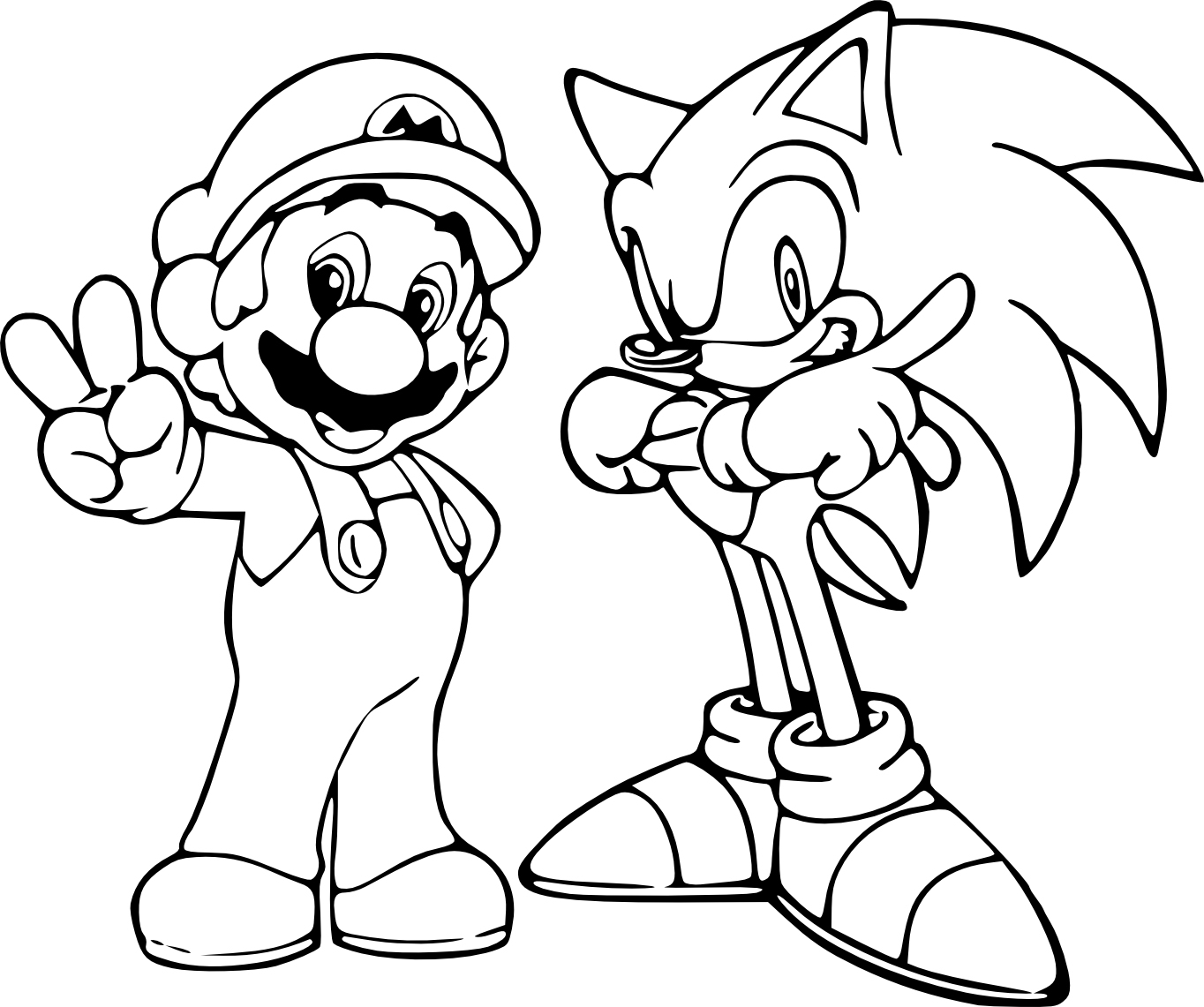Coloriage De Sonic Et Mario À Imprimer dedans Coloriage Mario