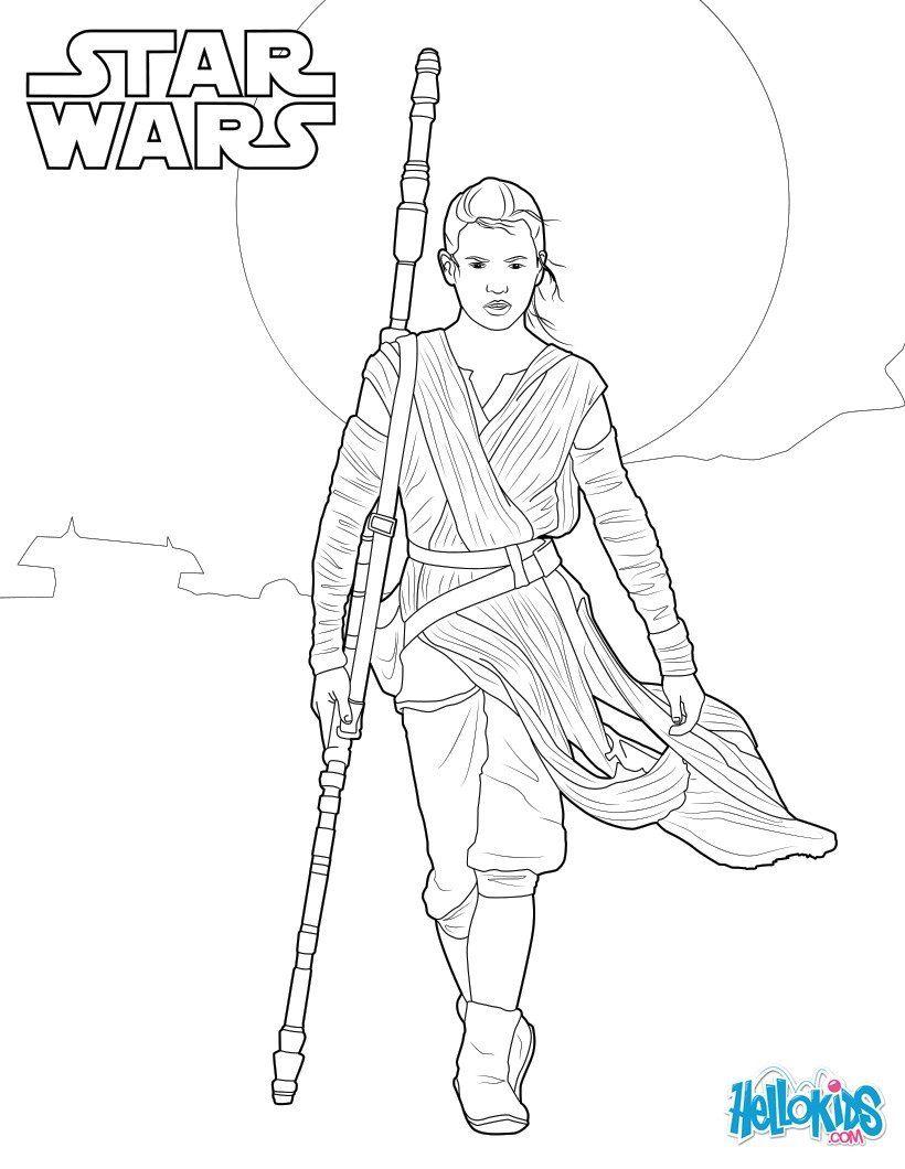 Coloriage De Star Wars Le Réveil De La Force, Avec Rey. Un destiné Coloriage Star Wars À Imprimer Gratuit