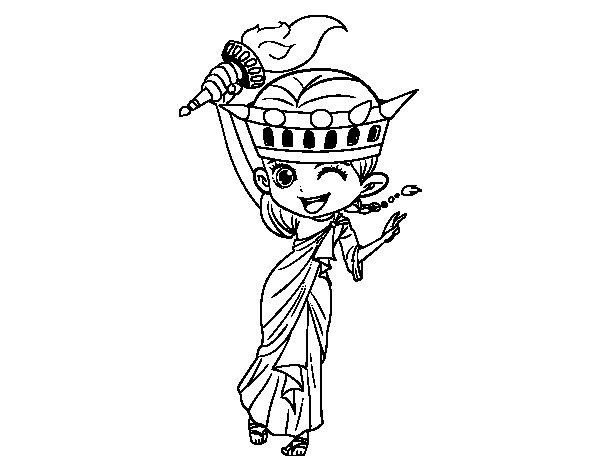 Coloriage De Statue De La Liberté Manga Pour Colorier dedans Statue De La Liberté Dessin