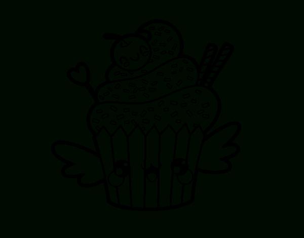Coloriage De Une Cupcake Kawaii Pour Colorier - Coloritou à Coloriage A Imprimer Kawaii