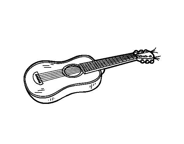 Coloriage De Une Guitare Acoustique Pour Colorier avec Coloriage Guitare