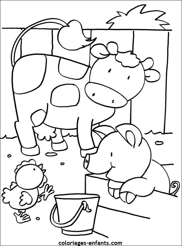 Coloriage De Vaches Sur Coloriages-Enfants destiné Coloriage D Animaux De Vache