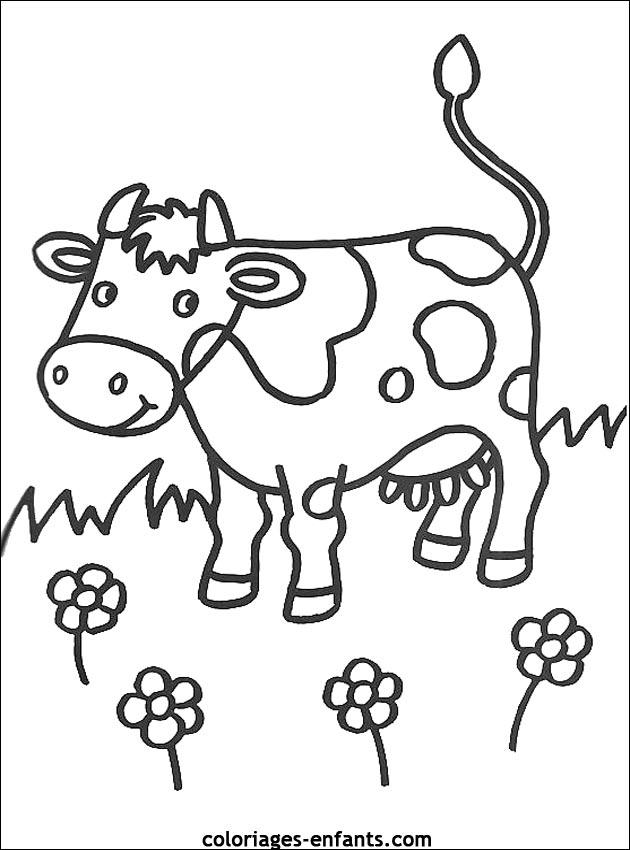 Coloriage De Vaches Sur Coloriages-Enfants encequiconcerne Coloriage D Animaux De Vache