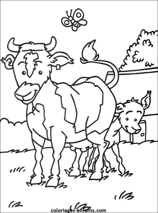 Coloriage De Vaches Sur Coloriages-Enfants pour Coloriage D Animaux De Vache