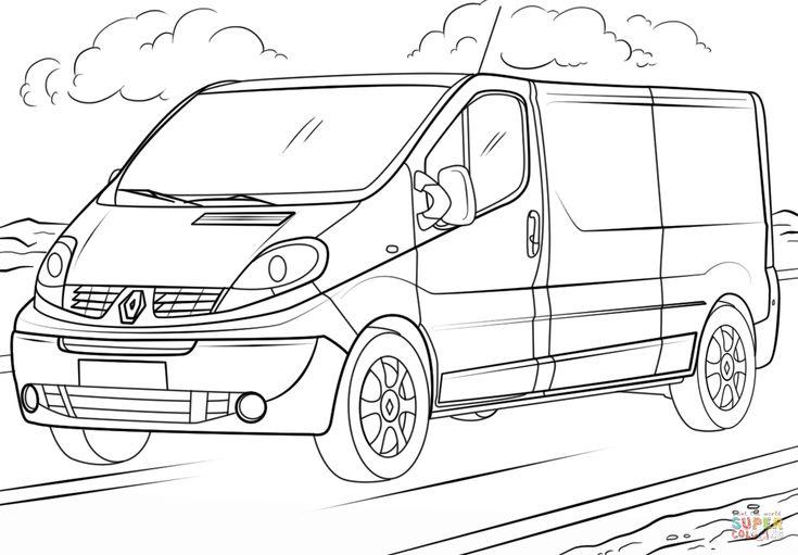 Coloriage De Voiture Renault | Renault Trafic, Renault à Voiture Int?Rieur Coloriage