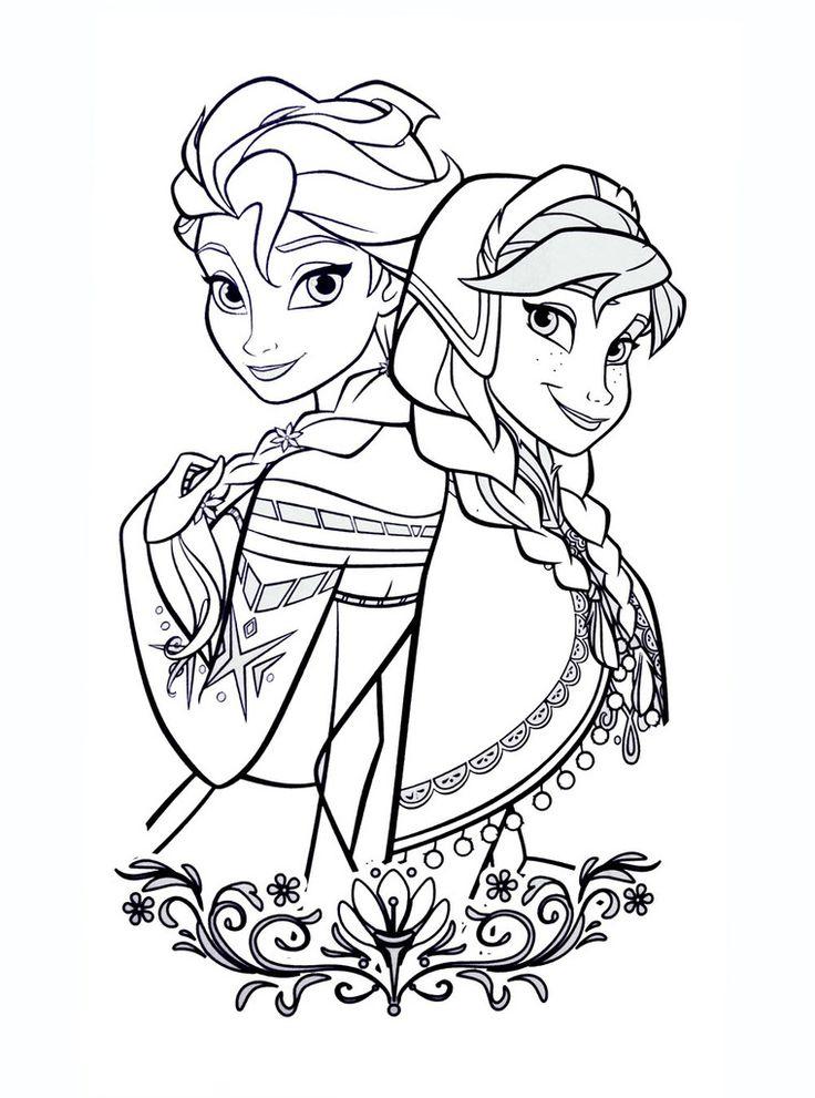 Coloriage D'Elsa Et Anna De La Reine Des Neiges à Reine Des Neige A Colorier