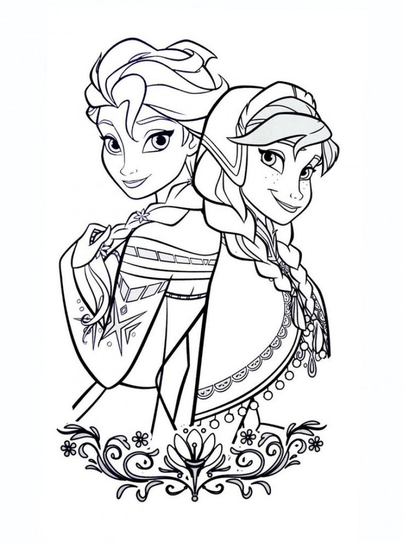 Coloriage D'Elsa Et Anna De La Reine Des Neiges destiné Coloriage Reine Des Neiges À Imprimer Gratuit