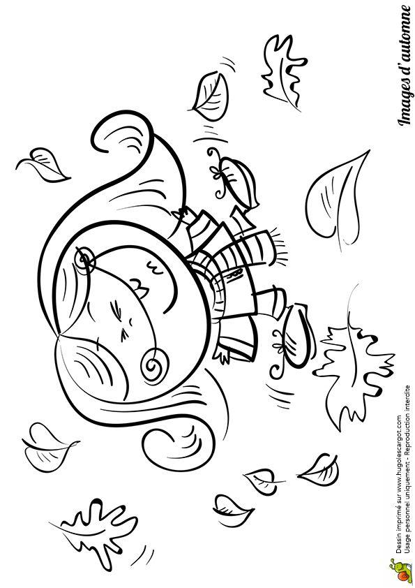 Coloriage / Dessin Automne Petite Fille Dans Les Feuilles pour Dessin À Colorier Automne