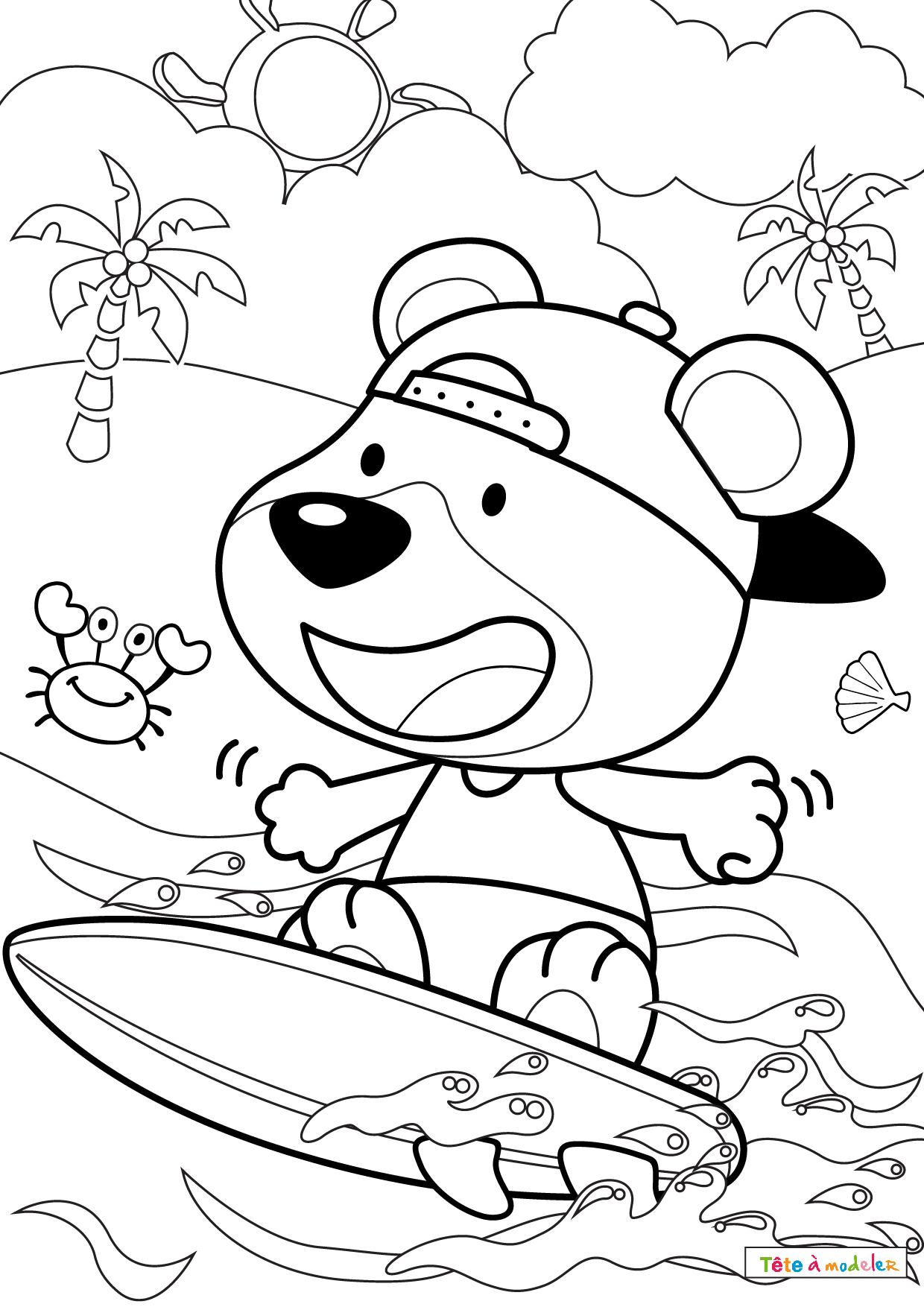 Coloriage D'Été : Un Dessin Avec Un Chier Surfeur Avec intérieur Dessin Surfeur
