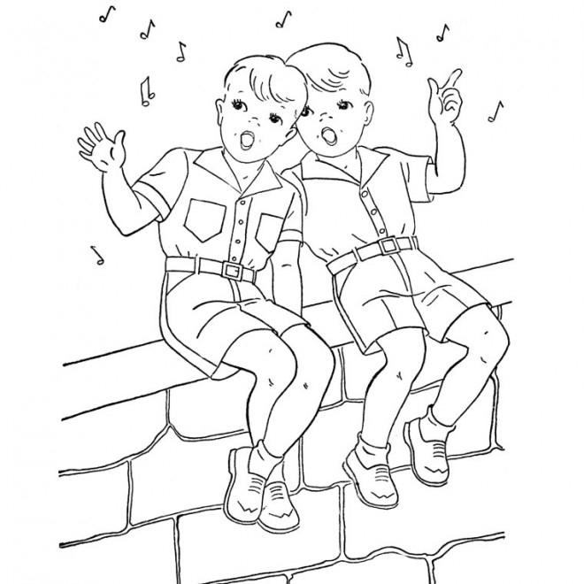 Coloriage Deux Garçons Chantent Dessin Gratuit À Imprimer tout Dessin À Colorier Garçon