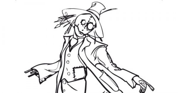 Coloriage D'Halloween 9 : L'Épouvantail - Magicmaman à Épouvantail Dessin