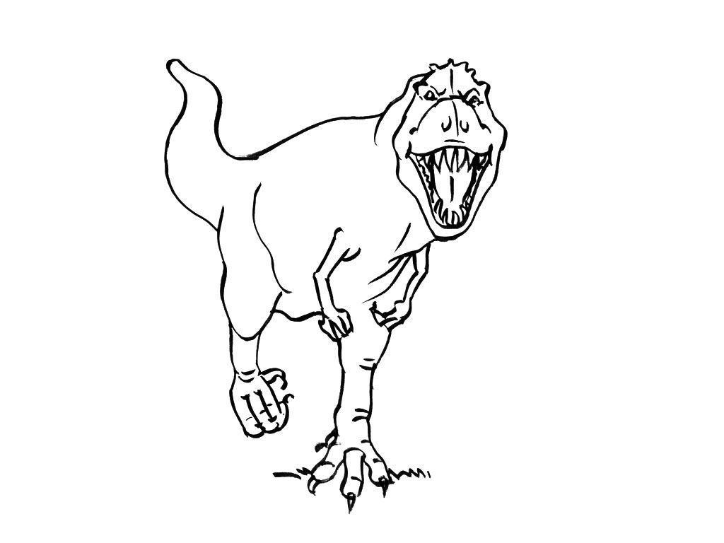Coloriage Dinosaure : Tyrannosaure Agressif - Coloriage concernant Coloriage Dinosaure Tyrannosaure