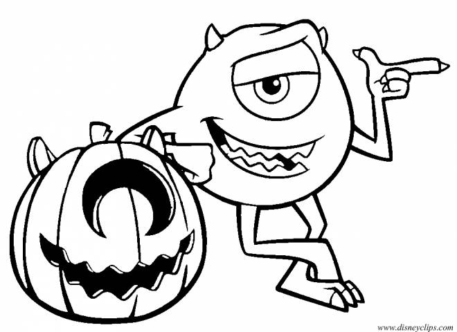 Coloriage Disney Halloween Citrouille Monster Inc serapportantà Citrouille Monstre