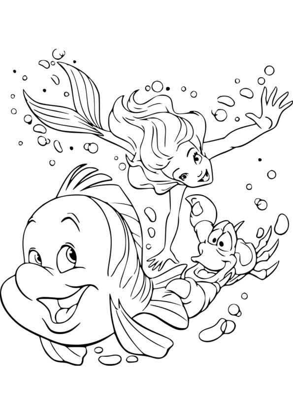 Coloriage Disney La Petite Sirene à Coloriage A Imprimer Disney
