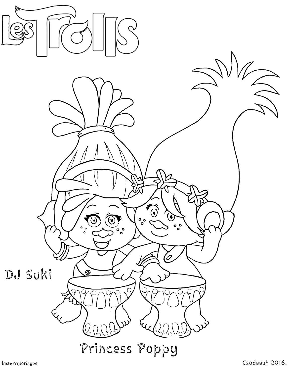 Coloriage Dj Suki Et Princesse Poppy | Coloriage concernant Dessin De Troll
