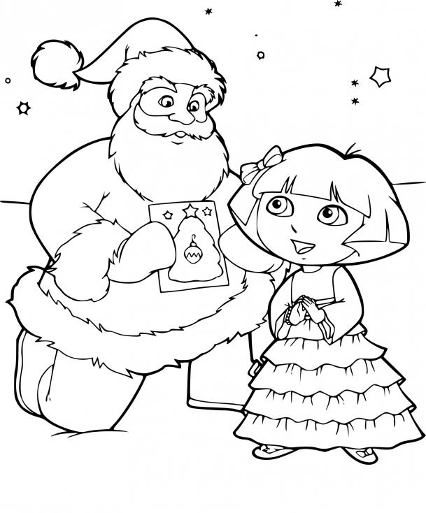 Coloriage Dora À Noel À Imprimer Sur Coloriages avec Dessin A Colorier Dora Gratuit A Imprimer