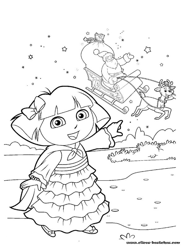 Coloriage Dora Attend Le Père Noël Dessin Gratuit À Imprimer avec Coloriage De Dora En Ligne