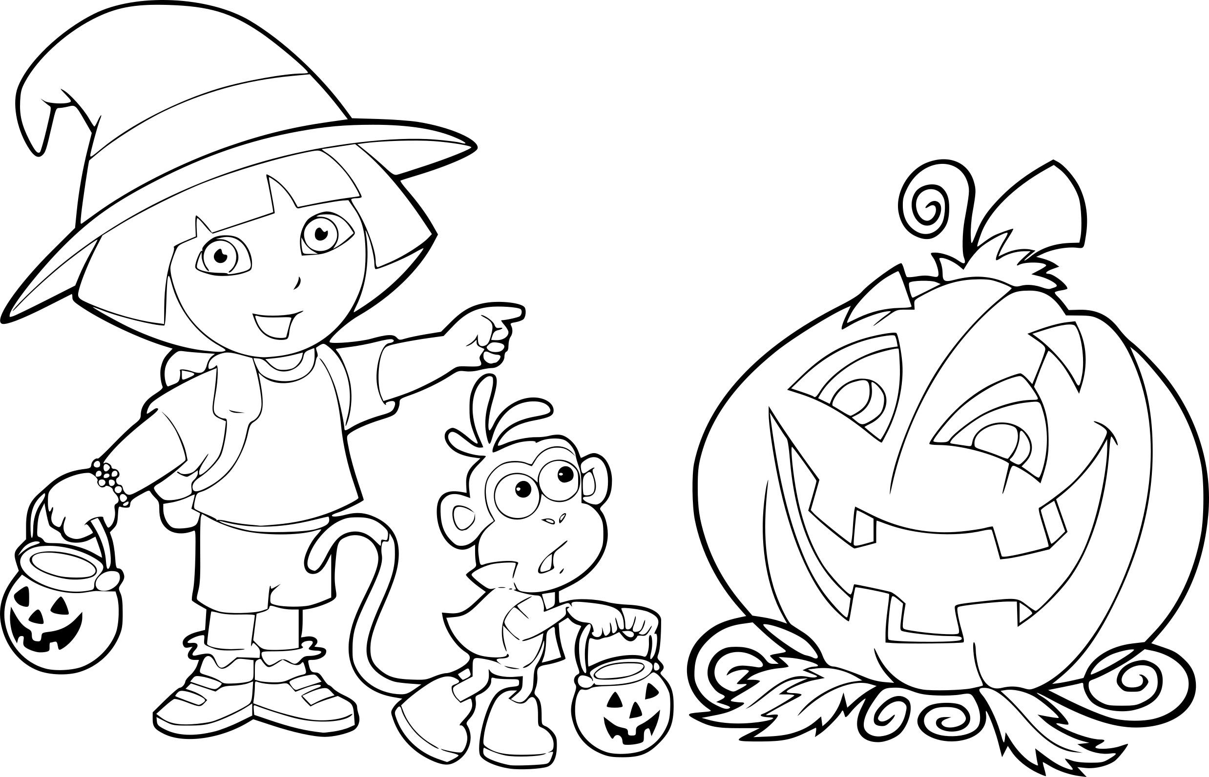 Coloriage Dora Halloween Dessin À Imprimer Sur Coloriages destiné Coloriage Dora À Imprimer