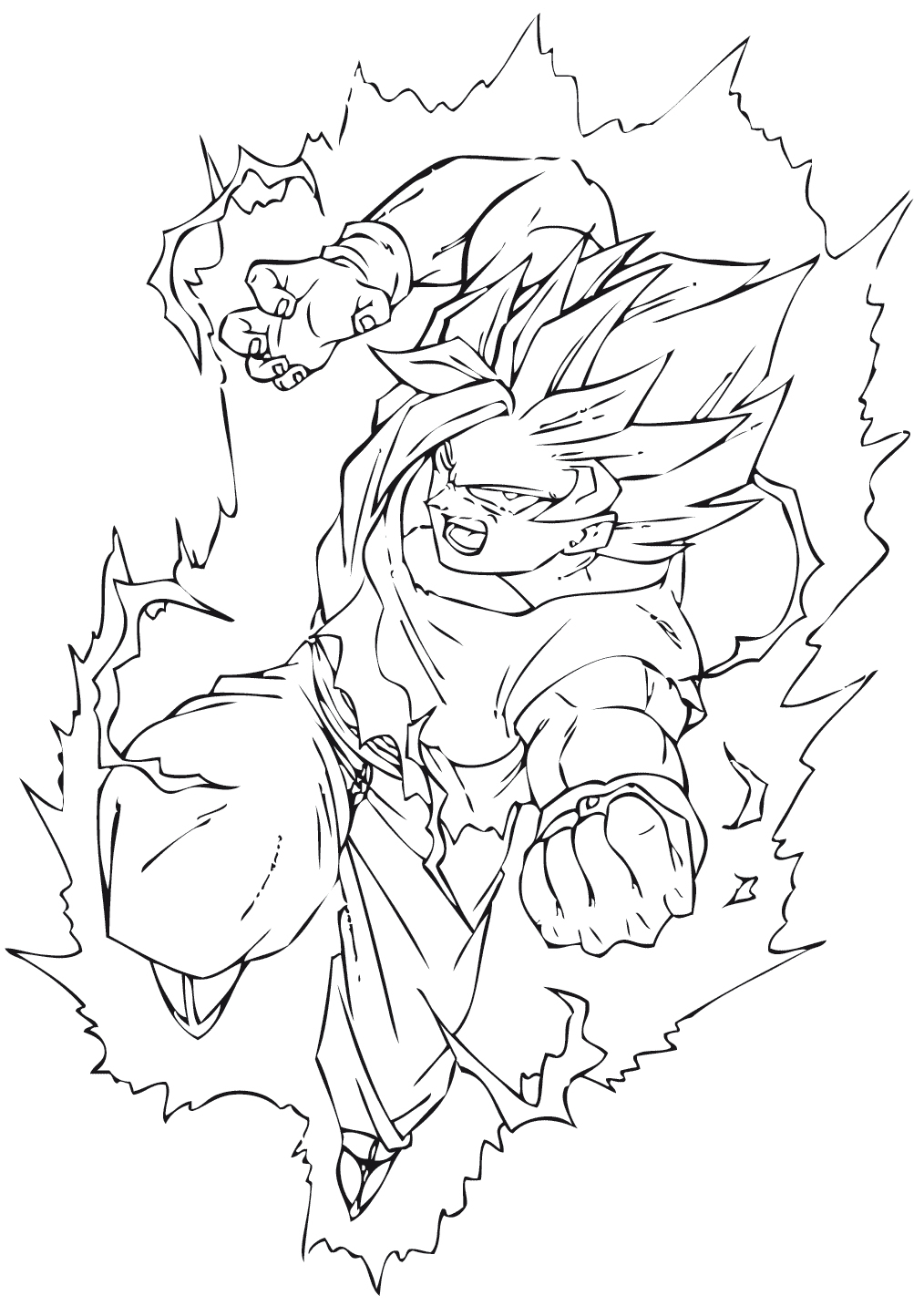 Coloriage Dragon Ball Z Sangohan Super Saiyan 2 | Z serapportantà Coloriage Dragon Ball Z Super