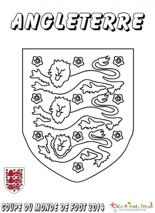 Coloriage Du Blason De Foot D'Angleterre Sur Tête À Modeler à Dessin De L Angleterre