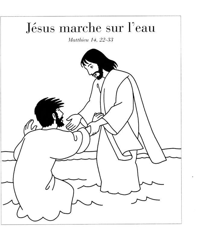 Coloriage Du Dimanche 10 Août - Jésus Marche Sur L'Eau serapportantà Coloriage À L Eau