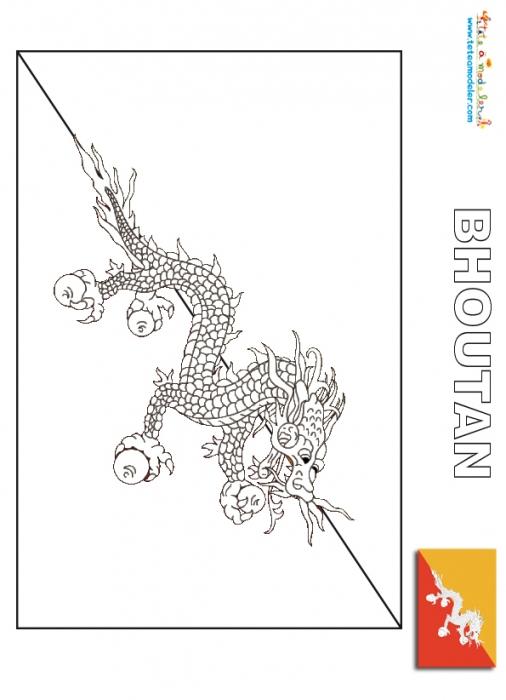 Coloriage Du Drapeau Du Bhoutan - Les Drapeaux Du Monde tout Drapeau Brésil À Colorier