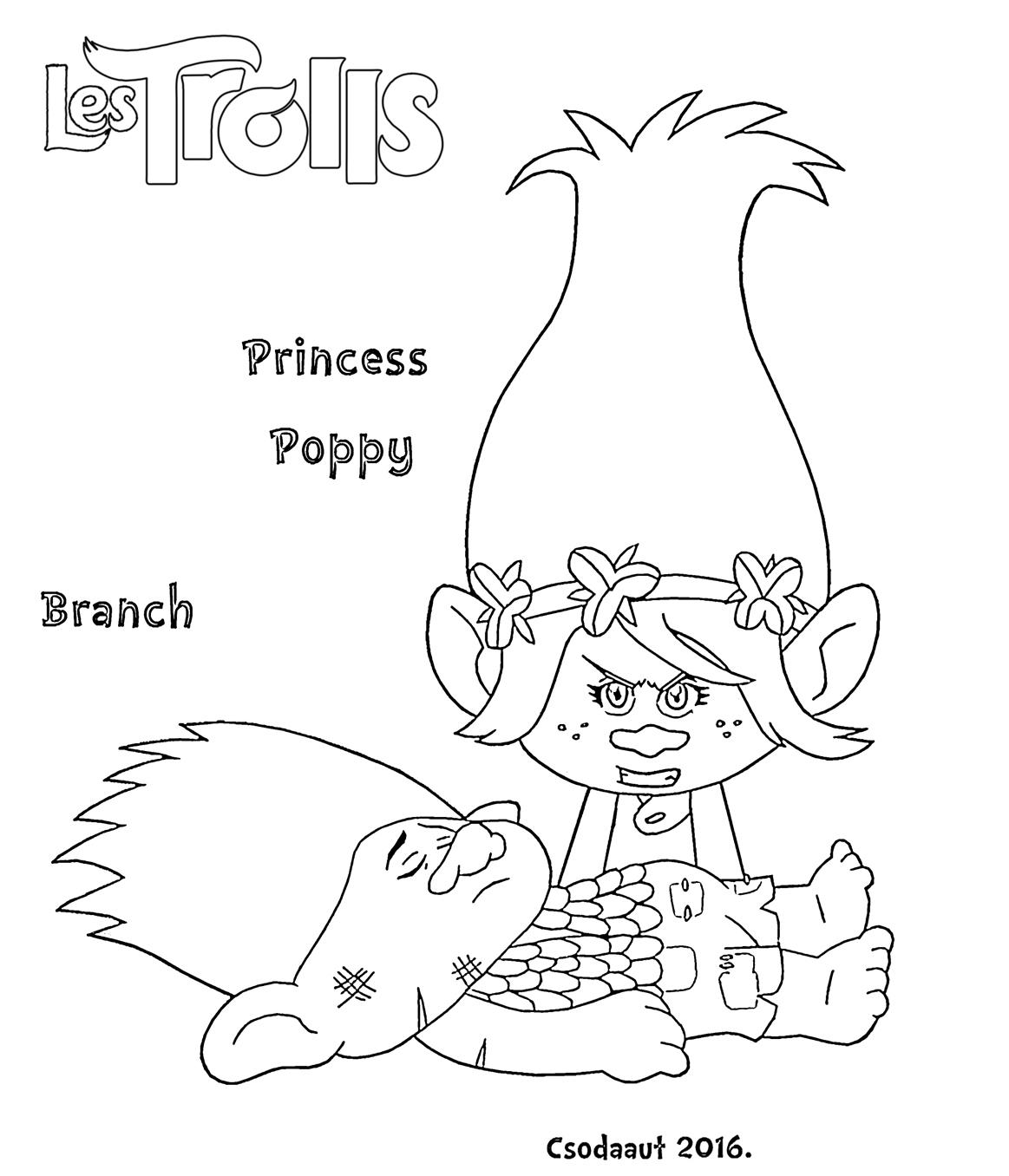 Coloriage Du Film Trolls : Princesse Poppy Au Chevet De Branch tout Dessin De Troll
