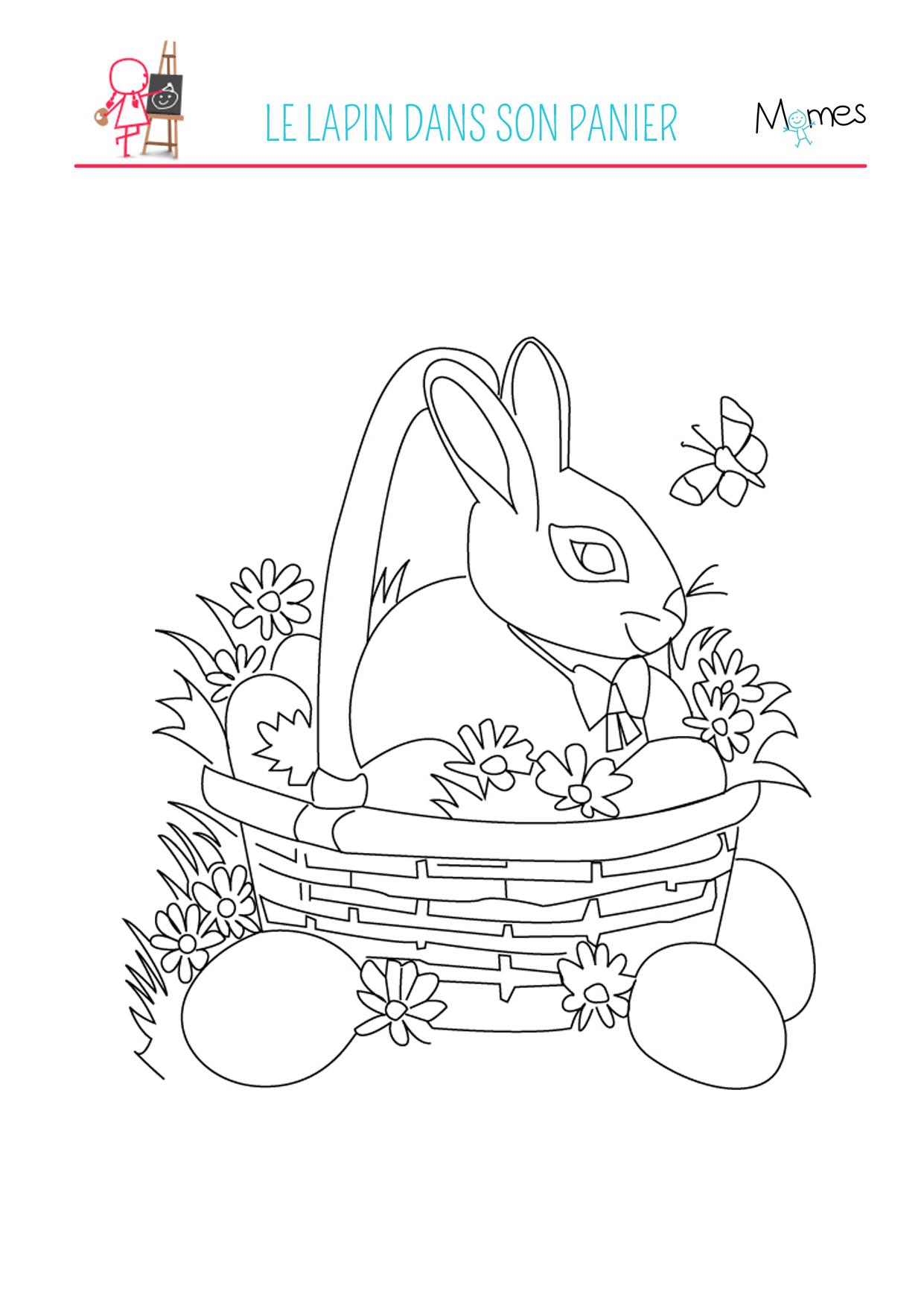 Coloriage Du Lapin De Pâques - Momes dedans Coloriage De Paques À Imprimer