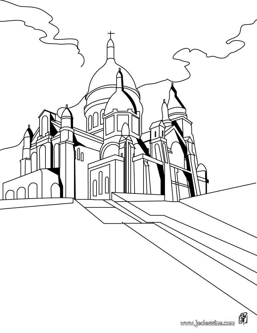 Coloriage Du Sacré Coeur Paris | Coloriage, Coloriage intérieur Coloriage Notre Dame De Paris