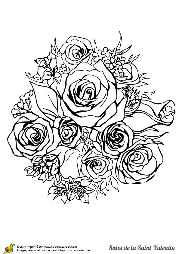 Coloriage D'un Magnifique Bouquet De Roses Pour Saint pour Coloriage Bouquet De Fleurs A Imprimer
