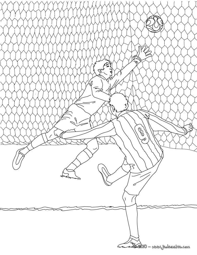 Coloriage D'Un Match De Foot Avec Un But Dans Les Cages tout Dessin A Imprimer De Foot