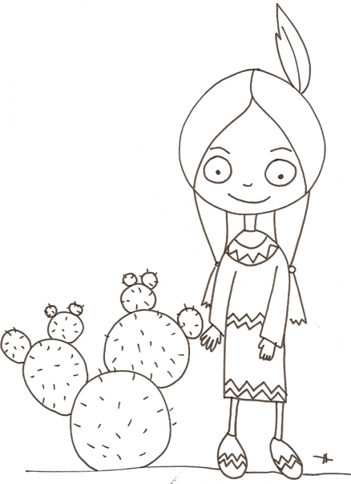Coloriage D'Une Indienne Au Cactus Rond - Tête À Modeler à Coloriage Cactus A Imprimer