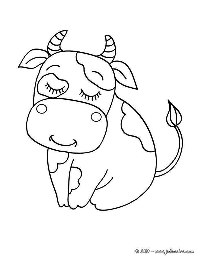 Coloriage D'une Jolie Vache Mignonne Assise. Un Dessin Sur avec Dessin D Une Vache
