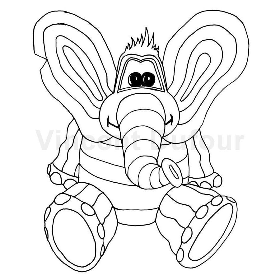 """Coloriage Éléphant """"Titou Logo"""" [Dessin À Colorier Gratuit destiné Coloriage Pour Enfant Gratuit"""