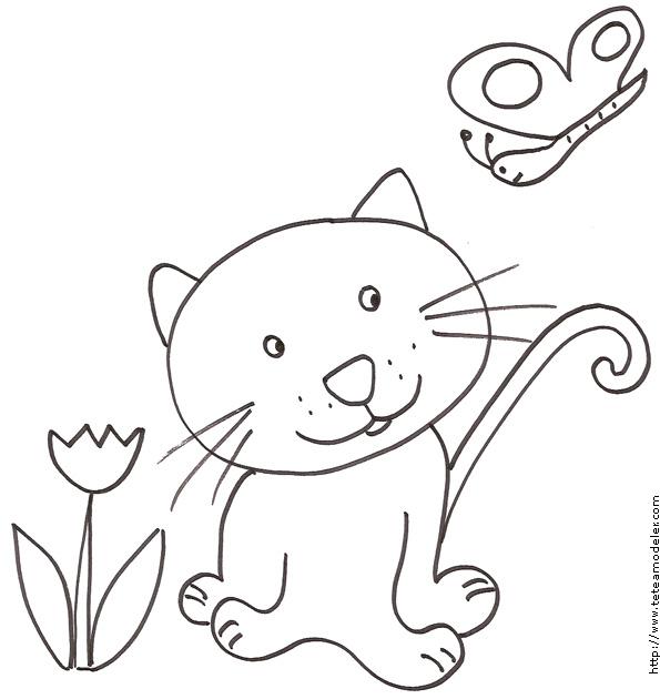 Coloriage Enfant : Coloriage Chat Et Le Papillon - Enfant tout Coloriage De Chat À Imprimer