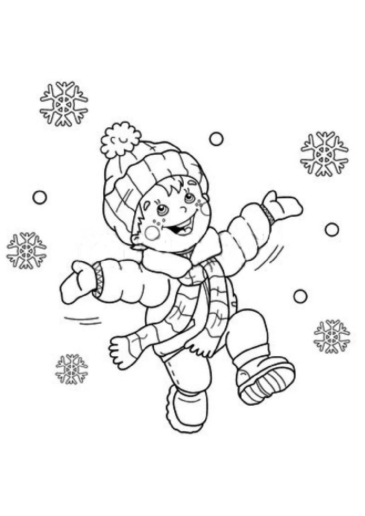 Coloriage - Enfant Et Flocon De Neige intérieur Coloriage Enfant