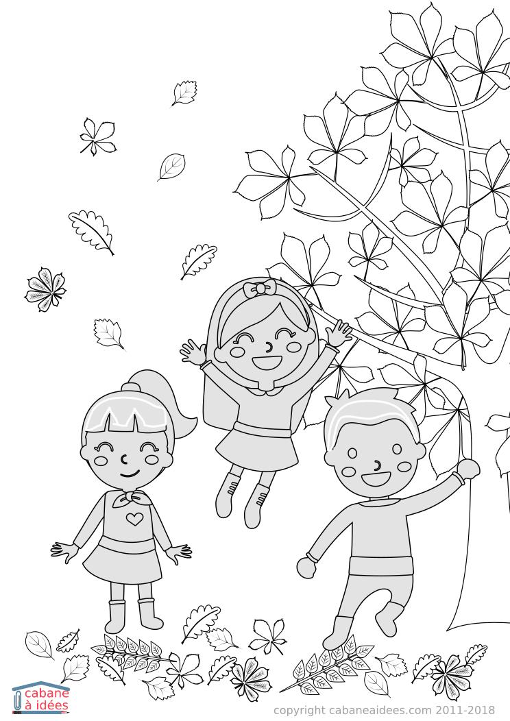 Coloriage Enfants En Automne - Cabane À Idées encequiconcerne Coloriage Enfant