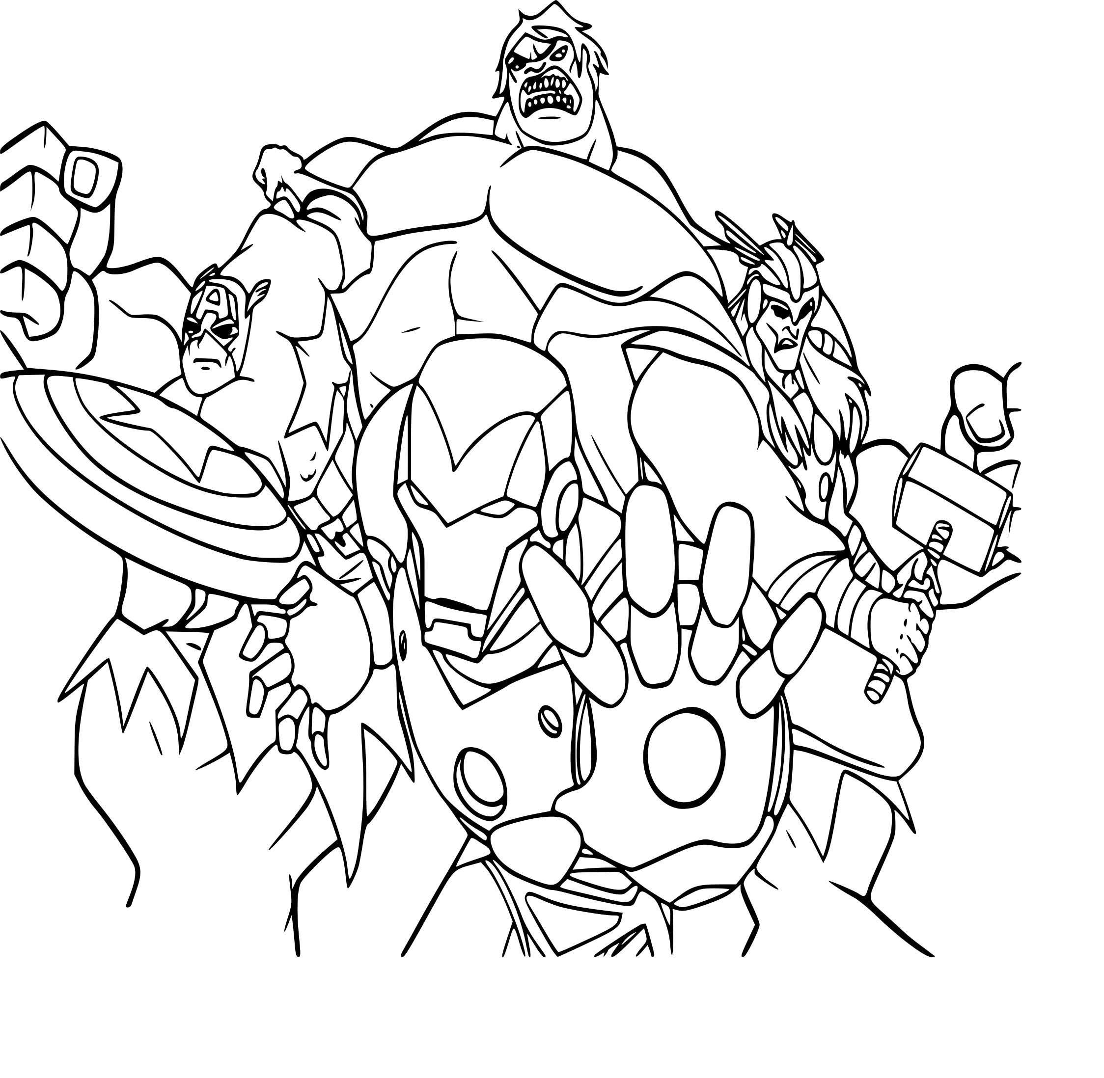 Coloriage Équipe Avengers À Imprimer concernant Dessin Des Avengers