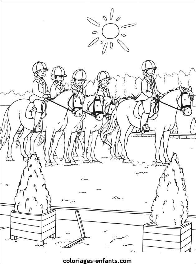 Coloriage Équitation Pour Enfant Dessin Gratuit À Imprimer pour Photo De Chevaux A Imprimer Gratuitement